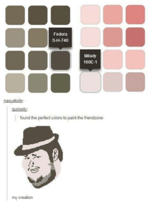 Fedora, Friendzone, and Omg: Fedora  S-H-740  Milady  160E-1  naoyatodo:  guriosity  found the perfect colors to paint the friendzone  my creation All the colors of the friendzoneomg-humor.tumblr.com