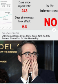 Internet, Memes, and United: Feed Broadband  Days since  243  Days since repeal  United States  Is the  internet dea  6.91 32.86  repeal vote:  Repeal Took  Efect  Repeal  Announced  took effect:  64 NO  DAILYCALLER.COM  US Internet Speed Has Gone From 12th To 6th  Fastest Since End Of Net Neutrality  DEL  OM  THE GROUND  ARGE (GC)
