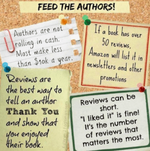 "carlhackman:   Found this from one of my fellow authors on Twitter and this is exactly we need :)  Small things such as commenting on websites, liking author pages and  following on Twitter all help get the word out about a book you like.  Every little helps. Authors also like to procrastinate (I mean chat  about their books) so don't be afraid to jump onto their pages and ask  questions   : FEED THE AUTHORS!  Authors are nota book has our  rallingmake less Amazo  in cdsh  50 reviews  n will list it in  newsletters and other  Reviens are  the best wau to  romotions  dell an author  Thank You  Reviews can be  short.  and Show dha "" liked it"" is fine!  ou enjolea  heir bock  It's the number  of reviews that  matters the most. carlhackman:   Found this from one of my fellow authors on Twitter and this is exactly we need :)  Small things such as commenting on websites, liking author pages and  following on Twitter all help get the word out about a book you like.  Every little helps. Authors also like to procrastinate (I mean chat  about their books) so don't be afraid to jump onto their pages and ask  questions"