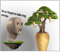 "Reddit, Today, and Com: Feed us  Oh nol forgot to take my  parsnips  Feed us <p>[<a href=""https://www.reddit.com/r/surrealmemes/comments/8aqmkj/h_a_v_e_y_o_u_t_a_k_e_n_y_o_u_r_parsnips_today_cc/"">Src</a>]</p>"