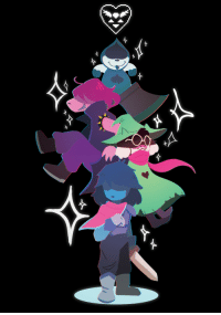 feedthemintless:  I played to deltarune the other day. I somehow made some stickers design….who end up in this illustration.: feedthemintless:  I played to deltarune the other day. I somehow made some stickers design….who end up in this illustration.