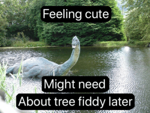 Cute, Funny, and Tree: Feeling cute  Might need  About tree fiddy later Tree Fiddy