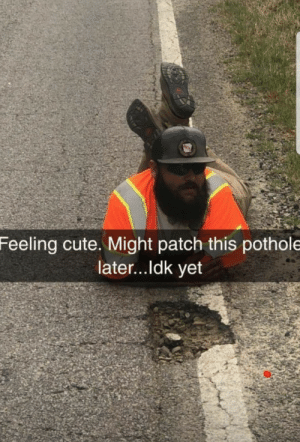 feeling cute via /r/memes http://bit.ly/2Gb2A1n: Feeling cute. Might patch this pothole  later...ldk yet feeling cute via /r/memes http://bit.ly/2Gb2A1n