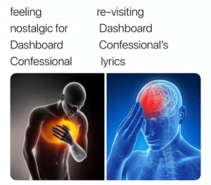 Dank Memes, Dashboard Confessional, and Dashboard: feeling  nostalgic for  Dashboard  Confessional  re-visiting  Dashboard  Confessional's