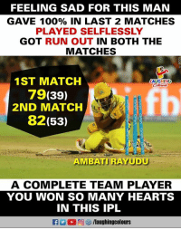 #AmbatiRayudu #CSKvRCB #IPL: FEELING SAD FOR THIS MAN  GAVE 100% IN LAST 2 MATCHES  PLAYED SELFLESSLY  GOT RUN OUT IN BOTH THE  MATCHES  2  1ST MATCH  79(39)  2ND MATCH  82(53)  LAUGHING  AMBATI RAYUDU  A COMPLETE TEAM PLAYER  YOU WON SO MANY HEARTS  IN THIS IPL  D 回ぴ/laughingcolours #AmbatiRayudu #CSKvRCB #IPL