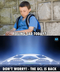 Memes, Today, and Sad: FEELING SAD TODAY?  AT  DON'T WORRY! THE UCL IS BACK UCL 😊