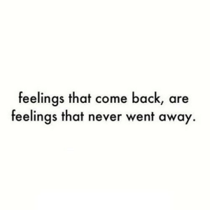 https://iglovequotes.net/: feelings that come back, are  feelings that never went away. https://iglovequotes.net/