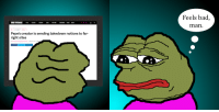 Feels bad,  man.  TECH SCIENCECULTURECARS REVIEWS LONGFORM VIDEO MORE  WEB \ US & WORLD \ POLITICS  Pepe's creator is sending takedown notices to far-  right sites  | Sep 18, 2017, 3:09p  SHARE
