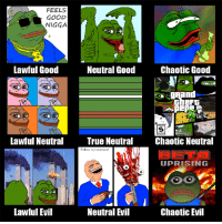 FEELS  GOOD  NIGGA  Chaotic Good  Lawful Good  Neutral Good  Lawful Neutral  True Neutral  Chaotic Neutral  Folow my example'  UPRISING  Lawful Evil  NeutraIEil  Chaotic Evil more cancerous OC