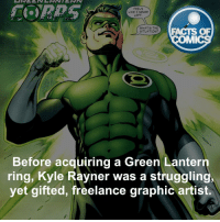 Memes, Green Lantern, and 🤖: FEELS  LIKE I NEVER  LEFT  WHAT'S THE  FACTS OF  SITUATION?  MMI  Before acquiring a Green Lantern  ring, Kyle Rayner was a strugglingy  yet gifted, freelance graphic artist. Kyle Rayner Fact! factsofcomics