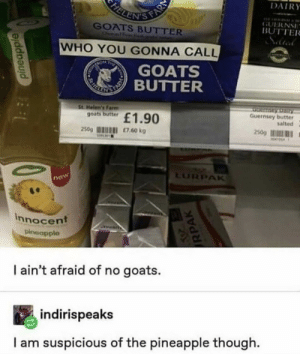 Me🍍irl by kevinowdziej MORE MEMES: FELENIS FAR  DAIRY  GUERNSE  BUTTER  GOATS BUTTER  Onelf  WHO YOU GONNA CALL  TRON  T  GOATS  REKE TIBUTTER  St Helen's Farm  goats butter  Serntay Dairy  Guernsey butter  salted  £1.90  250g  £7.60 kg  250g  M414  LURPAK  now  innocent  pineapple  I ain't afraid of no goats.  indirispeaks  I am suspicious of the pineapple though  pineapple  RPAK Me🍍irl by kevinowdziej MORE MEMES