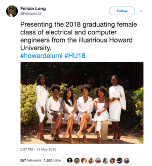 Women scientists of tomorrow 🤖: Felicia Long  @Fefelicia123  Follow  Presenting the 2018 graduating female  class of electrical and computer  engineers from the illustrious Howard  University.  #howardalumi #HU18  5:27 PM-14 May 2018  257 Retweets 1,530 Likes O Women scientists of tomorrow 🤖