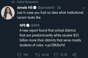 Racism never ended, it just got quieter: Felipe Retweete  Jemele HillQ @jemelehill 2d  Just in case you had no idea what institutional  racism looks like  NPR @NPR  A new report found that school districts  that are predominantly white receive $23  billion more than districts that serve mostly  students of color. n.pr/2BUboYd  942 t0 40.5K  92.2K Racism never ended, it just got quieter