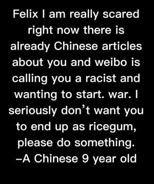 I know you guys hates these posts but I really have no choice but to post it here.: Felix I am really scared  right now there is  already Chinese articles  about you and weibo is  calling you a racist and  wanting to start. war. I  seriously don't want you  to end up as ricegum,  unt  please do something.  -A Chinese 9 year old  уear I know you guys hates these posts but I really have no choice but to post it here.