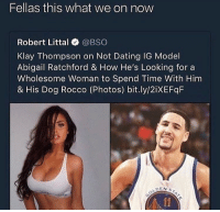 Blackpeopletwitter, Dating, and Klay Thompson: Fellas this what we on now  Robert Littal @BSO  Klay Thompson on Not Dating IG Model  Abigail Ratchford & How He's Looking for a  Wholesome Woman to Spend Time With Him  & His Dog Rocco (Photos) bit.ly/2iXEFqF  DEN S <p>Nobody Needs Nobody; All I need is me and my dog, so fuck all of y'all (via /r/BlackPeopleTwitter)</p>