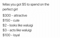 The perfect WAAA: fellas you got $5 to spend on the  perfect girl  $300 attractive  $150 cute  $2 - looks like waluigi  $3 - acts like waluigi  $100 -loyal The perfect WAAA