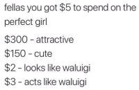 "<p>Perfection via /r/memes <a href=""https://ift.tt/2JPDvJW"">https://ift.tt/2JPDvJW</a></p>: fellas you got $5 to spend on the  perfect girl  $300 attractive  $150 cute  $2 - looks like waluigi  $3 - acts like waluigi <p>Perfection via /r/memes <a href=""https://ift.tt/2JPDvJW"">https://ift.tt/2JPDvJW</a></p>"