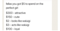 Meirl: fellas you got $5 to spend on the  perfect girl  $300 attractive  $150 cute  $2 - looks like waluigi  $3- acts like waluigi  $100 - loyal Meirl