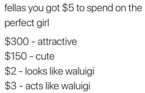 Perfection by mMaVie FOLLOW HERE 4 MORE MEMES.: fellas you got $5 to spend on the  perfect girl  $300 attractive  $150 cute  $2 - looks like waluigi  $3 - acts like waluigi Perfection by mMaVie FOLLOW HERE 4 MORE MEMES.