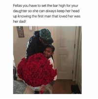 Dad, Head, and Memes: Fellas you have to set the bar high for your  daughter so she can always keep her head  up knowing the first man that loved her was  her dad! This is the cutest thing 💕 @peopleareamazing @peopleareamazing @peopleareamazing