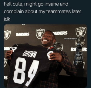 Cute, Memes, and 🤖: Felt cute, might go insane and  complain about my teammates later  idk  ADERS  @NFLHateMemes  ROWN  RS 😂😂 #Tina