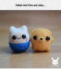 lolzandtrollz:Tiny Adventure Time: Felted mini Finn and Jake...  xNostalgic lolzandtrollz:Tiny Adventure Time