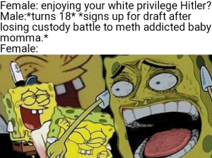 Bitches be legally able to ruin your life and shit.: Female: enjoying your white privilege Hitler?  Male:*turns 18* *signs up for draft after  losing custody battle to meth addicted baby  momma.*  Female: Bitches be legally able to ruin your life and shit.