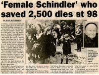 "Ghetto, Heroin, and Memes: Female Schindler' who  saved 2,500 dies at 98  BY ROSS McGUINNESS  A SOCIAL worker who saved 2,500  Jewish children from the Nazis dur-  ing World War II has died, aged 98.  Irena Sendler, who was known as  he female Schindler rescued chil  dren and babics from the Warsaw  ghetto in Poland smuggling some  out by wrapping them as parcels.  Mrs Sendler, who lived at a Warsaw  nursing home, had been in hospital  with pneumonia since last month.  During the war, she and her team of  20 were allowed into the infamous  during a typhoid outbreak. Instead,  they searched for children to,save.  Heroine:  They smuggled out babies in ambu  rena Sendler  lances and trams, some wrapped in  (inset) rescued  packages. Teenagers escaped by join-  Jewish babies  ng teams of labourers. Those rescued  and children  were placed in families, orphanages,  from the  hospitals or convents.  In 1943, the Nazis destroyed the  ghetto  ghetto and the inhabitants were shot  or sent to death camps.  Mrs Sendler, a Roman Catholic, was dren she saved were known because Yad Vashem Holocaust memorial  in who was rescued as a baby by Mrs  eventually captured by the Gestapo, Mrs Sendler kept a list buried in a jar Israel in 1965. Last year, she was Sendler in 1942.  tortured and sentenced to death but under an apple tree.  nominated for the Nobel Peace Prize.  She saved not only us but our chil-  She became one of the first ""Right-  It took a true miracle to save a dren and grandchildren and the gen-  released when a guard was bribed.  The names of the hundreds of chil  cous Gentiles' to be honoured on the  Jewish child,"" saidElzbieta Ficowska.  erations to come. https://t.co/7jnypdDzrn"