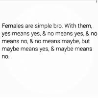 🙇💭💯😂 @insta_comedy Rodwyla insta_comedy: Females are simple bro. With them,  yes means yes, & no means yes, & no  means no, & no means maybe, but  maybe means yes, & maybe means  no 🙇💭💯😂 @insta_comedy Rodwyla insta_comedy