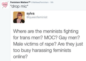 "Feminism, Rape, and Gay: Feminism MattersTM @WeNeedFeminlsm 16h  MNSx  ""drop mic*  sylva  @queenfeminist  Where are the meninists fighting  for trans men? MOC? Gay men?  Male victims of rape? Are they just  too busy harassing feminists  online?"