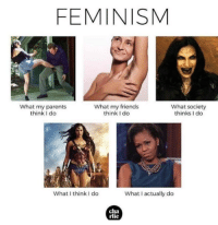 Feminism, Friends, and Parents: FEMINISM  What my parents  think I do  What my friends  think I do  What society  thinks I do  What I think I do  What I actually do  cha  rlie
