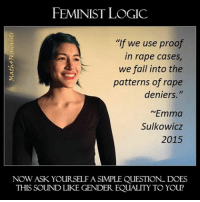 "A feminist future is one we should all be afraid of. instadaily instacool instagood instagram feminism rape mattress: FEMINIST LOGIC  ""If we use proof  in rape cases  we fall into the  patterns of rape  deniers.""  ~Emma  Sulkowicz  2015  NOW ASK YOURSELF A SIMPLE QUESTION DOES  THIS SOUND LIKE GENDER EQUALITY TO YOU? A feminist future is one we should all be afraid of. instadaily instacool instagood instagram feminism rape mattress"