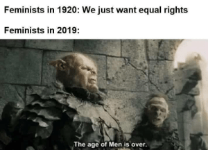 Men, Just, and  Want: Feminists in 1920: We just want equal rights  Feminists in 2019:  The age of Men is over.