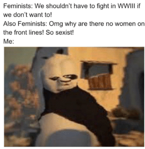 Send the women to the front lines: Feminists: We shouldn't have to fight in WVWIII if  we don't want to!  Also Feminists: Omg why are there no women on  the front lines! So sexist!  Me: Send the women to the front lines