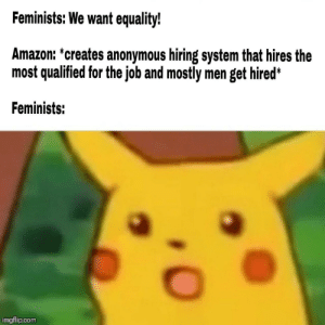 Amazon, Memes, and Anonymous: Feminists: We want equality!  Amazon: *creates anonymous hiring system that hires the  most qualified for the job and mostly men get hired*  Feminists:  imgflip.com Take that libtard via /r/memes https://ift.tt/2q4cjPa