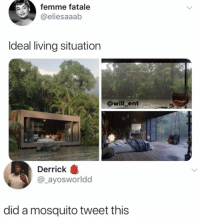 Memes, Living, and 🤖: femme fatale  @eliesaaab  Ideal living situation  @will ent  Derrick  @_ayosworldd  did a mosquito tweet this 😂WTH