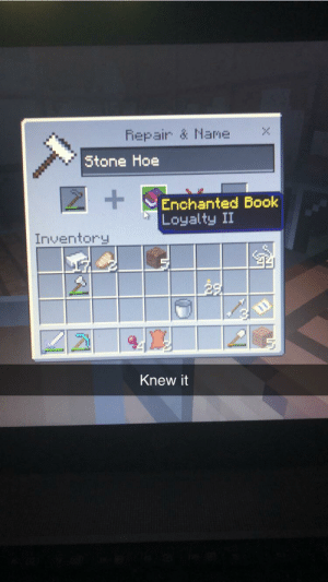 Hoe, Enchanted, and Stone: Fepair & Name  Stone Hoe  +  Enchanted Bo  Loyalty II  Inventory  Knew it Always knew it