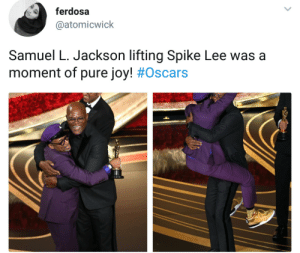 When bros support each other the world shines: ferdosa  @atomicwick  Samuel L. Jackson lifting Spike Lee was a  moment of pure joy! # Oscars When bros support each other the world shines