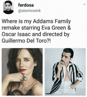 Id watch this show tbh by GallowBoob MORE MEMES: ferdosa  @atomicwick  Where is my Addams Family  remake starring Eva Green &  Oscar Isaac and directed by  Guillermo Del Toro?! Id watch this show tbh by GallowBoob MORE MEMES