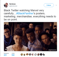 Black Twitter: ferdosa  Follow  atomicwick  Black Twitter watching Marvel very  carefully  .#BlackPanther's posters  marketing, merchandise, everything needs to  be on point.  GIF  NBlackPantherSoul  Retweets  Likes  221  542