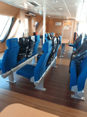 Ferries in sweden has covered up chairs to help social distancing rules.: Ferries in sweden has covered up chairs to help social distancing rules.