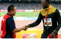 Dank, 🤖, and Bolt: FESCO  TDK  DK Good guy Usain Bolt being cool with the guy who wiped him out with a segway.