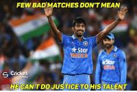 What a last over that was by Bumrah ❤️ defended just 8: FEW BAD MATCHES DON'T MEAN  Star  Cricket  S Shots  HE CAN'T DO JUSTICE TO HIS TALENT What a last over that was by Bumrah ❤️ defended just 8