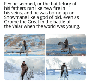 """Fire, God, and Sang: Fey he seemed, or the battlefury of  his fathers ran like new fire in  his veins, and he was borne up on  Snowmane like a god of old, even as  Oromë the Great in the battle of  the Valar when the world was young. """"... and then all the host of the Rohirrim burst into song, and they sang as they slew, for the joy of battle was upon them..."""""""