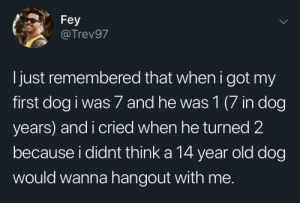 Old, Awww, and Got: Fey  @Trev97  I just remembered that when i got my  first dog i was 7 and he was 1 (7 in dog  years) and i cried when he turned 2  because i didnt think a 14 year old dog  would wanna hangout with me. Awww