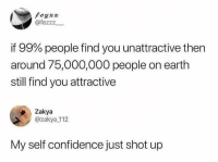 Confidence, Earth, and You: Feyxx  @fezzz  if 99% people find you unattractive then  around 75,000,000 people on earth  still find you attractive  Zakya  @zakya 112  My self confidence just shot up