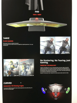 This monitor description uses STATIC LOADING SCREENS to demonstrate how it handles screen tearing...: FHD  1920 x 1080OP  Pixio  144HZ  FLUID GAMING  Once you go 144HZ, you simply can't go back.  Take advantage of your high framerate and upgrade your gaming experience. Your eyes  will thank you.  144HZ  60HZ  No Stuttering. No Tearing. Just  Gaming.  FREESYNC TECHNOLOGY  TEARING  FreeSync Technology puts an end to choppy gameplay and broken images. Enjoy fluid,  artifact-free performance at virtually any framerate. Behold the next breadthrough in PC  gaming performance. The FreeSync technology in select AMD APUS and GPUS resolves the  communication issues between the processors and the monitor, eliminating image tearing  and choppiness for effortlessly smooth gameplay.  TEARING  FREESYNC TECHNOLOGY ONLY WORKS WITH AMD RADEON SERIES GRAPHICS CARDS.  SYNC ON  SYNC OFF  CURVED  Immersive 178 Viewing Angles  178°  The advanced 1800R Samsung SVA Panel minimizes light leak and provides deep, rich  colors from all viewing angles. This monitor description uses STATIC LOADING SCREENS to demonstrate how it handles screen tearing...