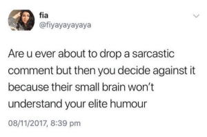 Dank, Brain, and Time: fia  @fiyayayayaya  Are u ever about to drop a sarcastic  comment but then you decide against it  because their small brain won't  understand your elite humour  08/11/2017, 8:39 pnm All the time.