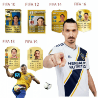 Fifa, Memes, and 🤖: FIFA 10  FIFA 12FIFA 14  FIFA 16  90BRAHIMOVIC  88 IBRAHIMOvI  ST  IBRAHIMOVIC  89 s  89  ST  IST  ST  IBRAHIMOVIC  73 PAC 85 DRI  90 SHO 31 DEF  81 PAS 86 PHY  76 PAC  88 D  81 PAC  88 SHO  77 PAS  93 DRI  72 DEF  83 HEA  79 PAC 87 DR  89 SHO 65 DEF  78 PAS 82 HEA  79 PAS 79  FIFA 18  FIFA 19  85  ST  ST  das  M/L IBRAHIMOVIC  4 SM 65 PAC 82 DRI  WE 88 SHO 32 DEF  81 PAS 82 PHY  IBRAHIMOVIĆ  59 PAC | 79 DRI  86 SHO 34 DEF  77 PAS 78 PHY  HERBALIF  NUTRITIC @iamzlatanibrahimovic over the years 🤩🙌