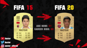 Remember this beast? https://t.co/CuJ3jktyUo: FIFA 15  FIFA 20  88  58  CAM  CAM  AGE NOW: 21  CAREER HIGH: 68  MASTOUR  MASTOUR  87 PAC  83 SHO  85 PAS  91 DRI  32 DEF  68 PHY  62 PAC  55 SHO  52 PAS  63 DRI  23 DEF  42 PHY  Austor  Austor  austor_official Remember this beast? https://t.co/CuJ3jktyUo